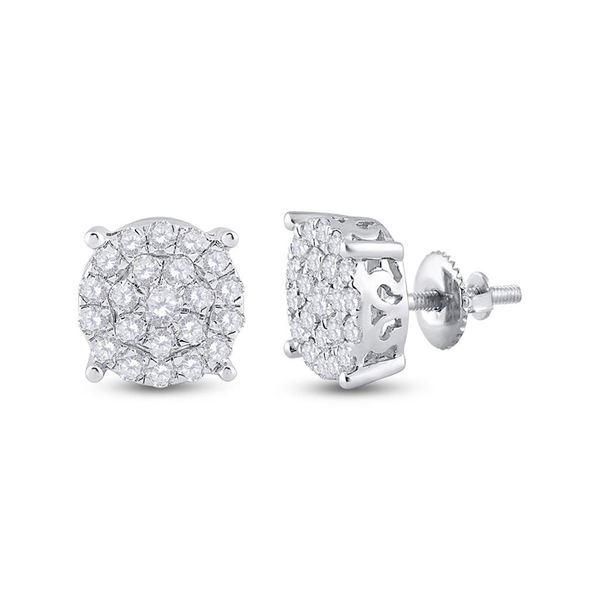 Diamond Cluster Earrings 1-1/2 Cttw 14kt White Gold