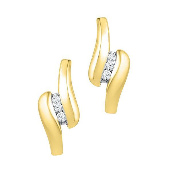 Diamond J Hoop Earrings 1/8 Cttw 10kt Yellow Gold