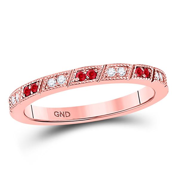 Ruby Diamond Milgrain Stackable Band Ring 1/4 Cttw 10kt Rose Gold
