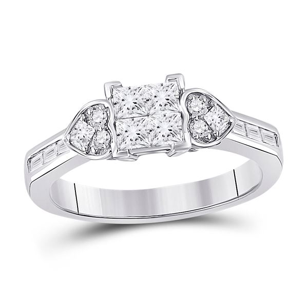 Princess Diamond Square Heart Cluster Ring 3/4 Cttw 14kt White Gold