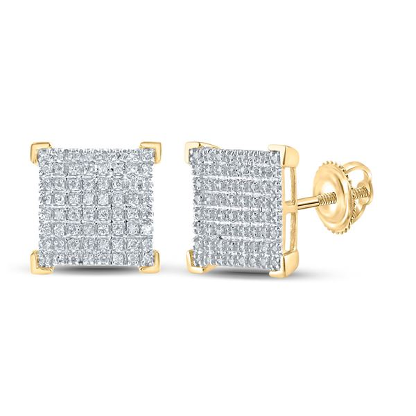 Mens Diamond Square Earrings 1/3 Cttw 10kt Yellow Gold