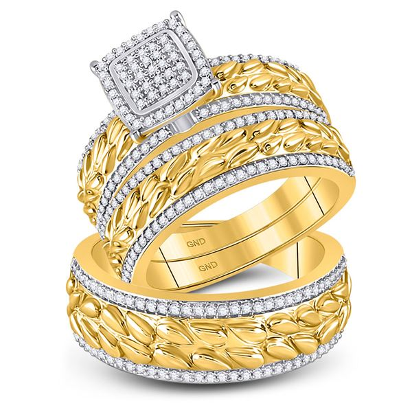 His Hers Diamond Cluster Matching Wedding Set 5/8 Cttw 10kt Yellow Gold
