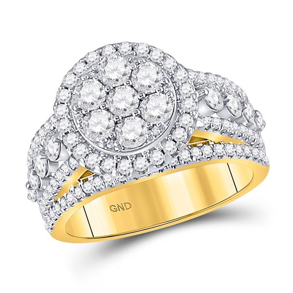 Diamond Cluster Bridal Wedding Engagement Ring 2 Cttw 14kt Yellow Gold