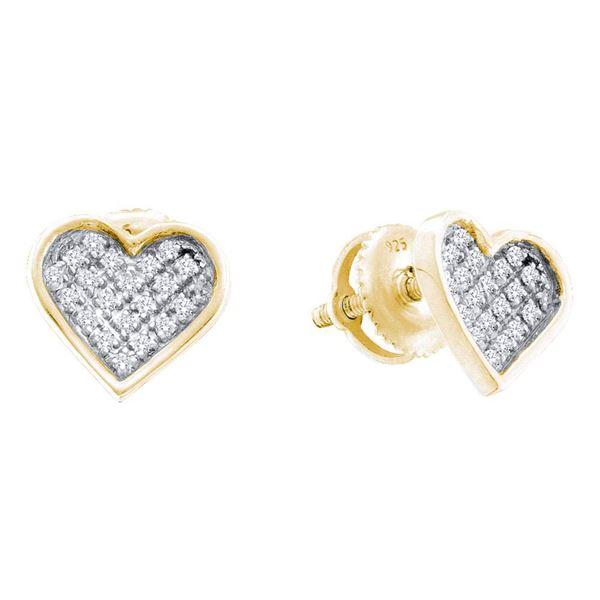 Diamond Heart Earrings 1/20 Cttw Yellow-tone Sterling Silver