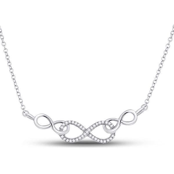 Diamond Infinity Pendant Necklace 1/5 Cttw 10kt White Gold