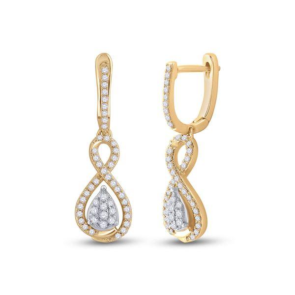 Diamond Teardrop Dangle Earrings 3/8 Cttw 10kt Yellow Gold