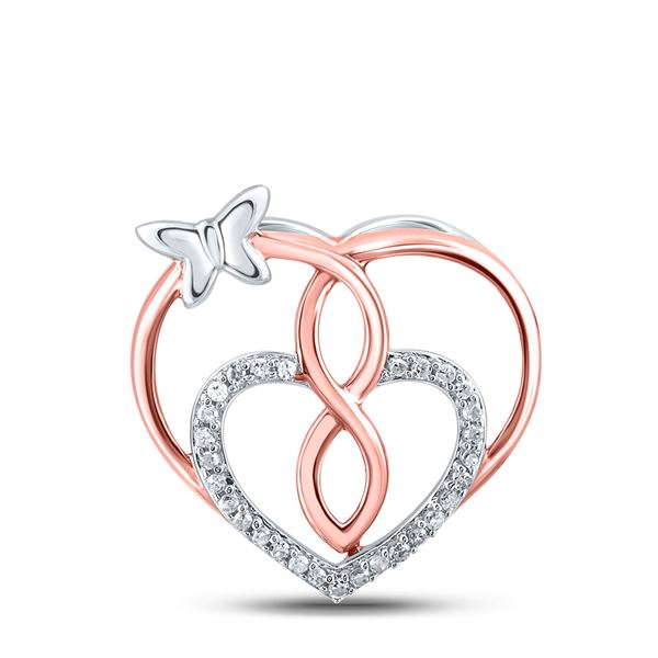 Diamond Heart Butterfly Pendant 1/10 Cttw Rose-tone Sterling Silver