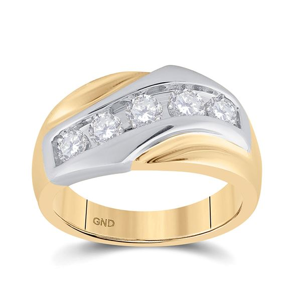 Mens Diamond 5-Stone Band Ring 1 Cttw 14kt Yellow Gold