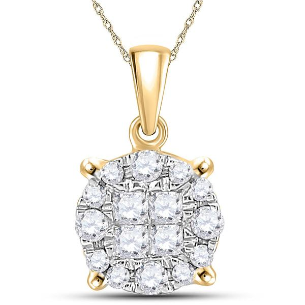 Princess Diamond Cluster Pendant 1/4 Cttw 14kt Yellow Gold