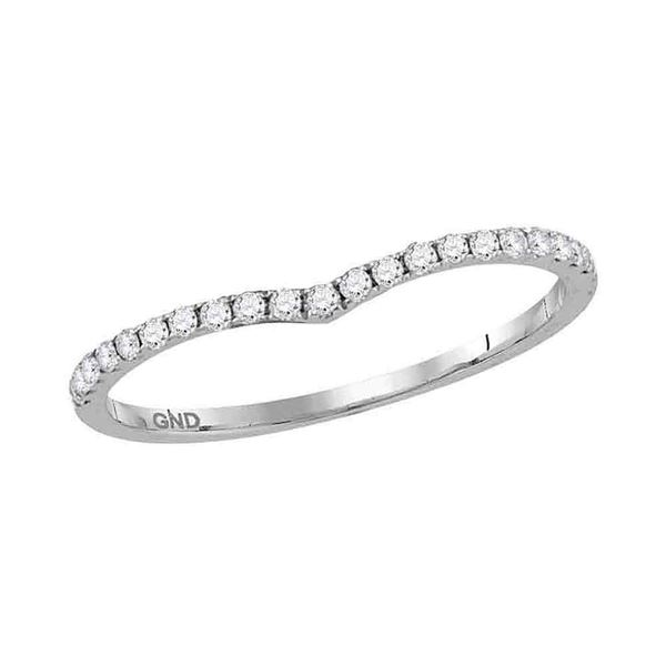 Diamond Chevron Stackable Band Ring 1/6 Cttw 14kt White Gold