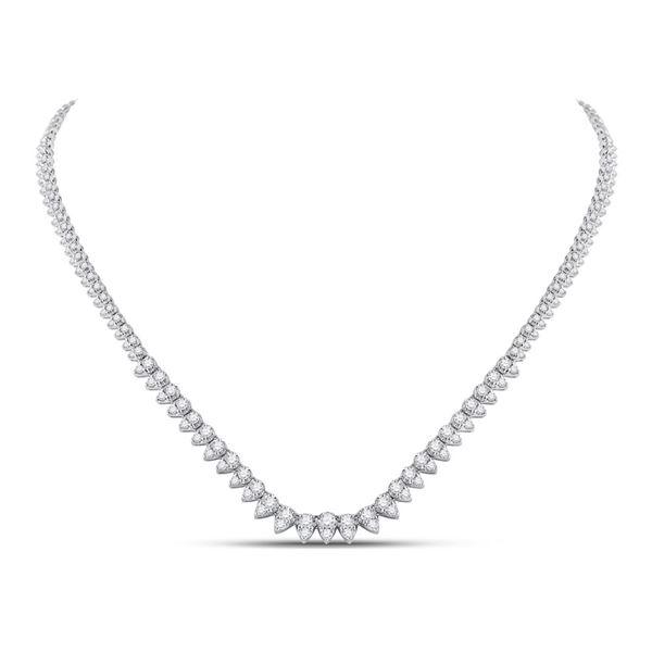 Diamond Teardrop Pear Link Necklace 4-1/3 Cttw 14kt White Gold