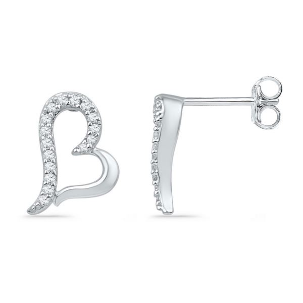 Diamond Heart Earrings 1/10 Cttw 10kt White Gold