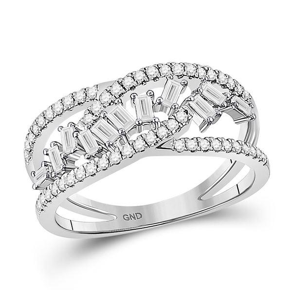 Baguette Diamond Scattered Band Ring 1/2 Cttw 14kt White Gold