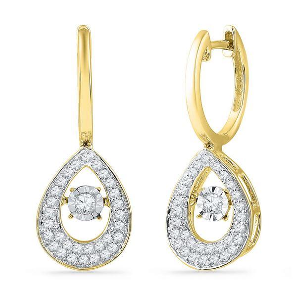 Diamond Teardrop Moving Twinkle Dangle Earrings 1/2 Cttw 10kt Yellow Gold