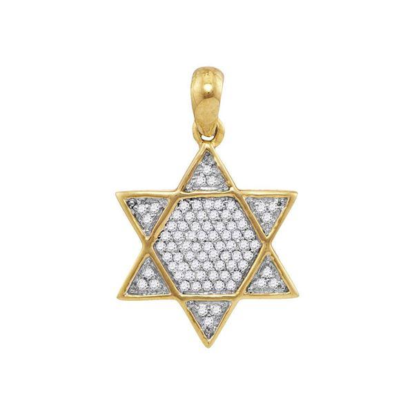 Mens Diamond 6-Point Star Magen David Charm Pendant 1/5 Cttw 10kt Yellow Gold