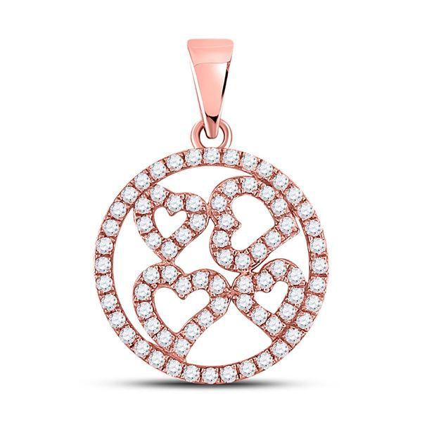 Diamond Heart Circle Pendant 1/2 Cttw 10kt Rose Gold