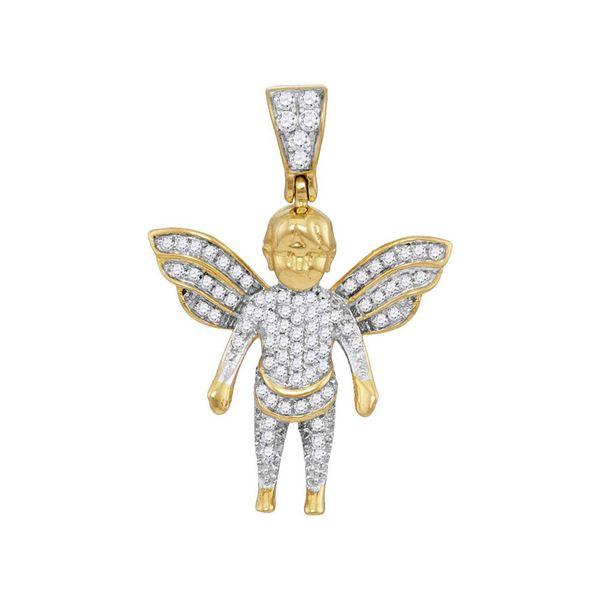 Mens Diamond Guardian Angel Charm Pendant 1/3 Cttw 10kt Yellow Gold