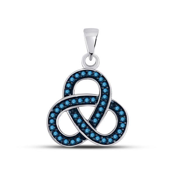 Blue Color Enhanced Diamond Triquetra Pendant 1/4 Cttw Sterling Silver