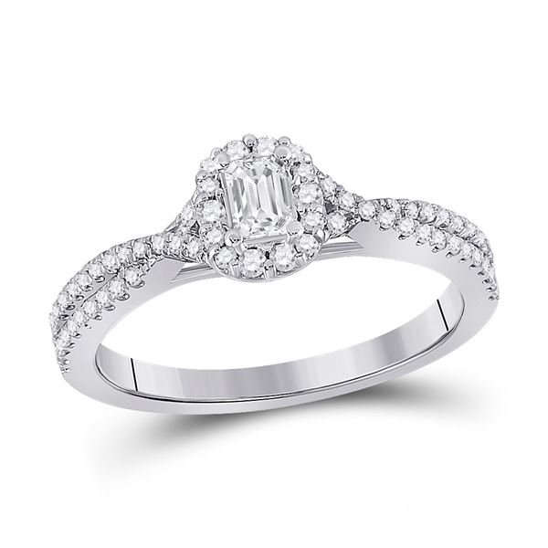 Emerald Diamond Halo Bridal Wedding Engagement Ring 1/2 Cttw 14kt White Gold