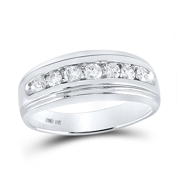 Mens Diamond Wedding Channel-Set Band Ring 3/4 Cttw 10kt White Gold