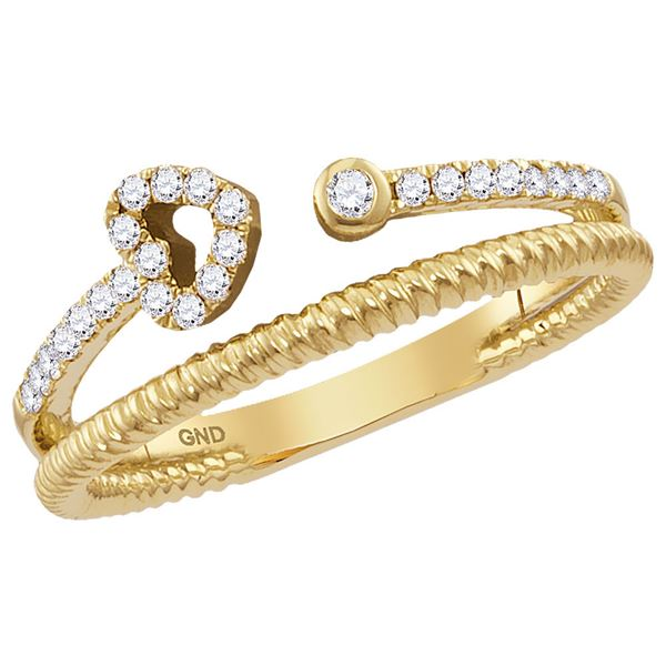 Diamond Heart Stackable Band Ring 1/6 Cttw 14kt Yellow Gold