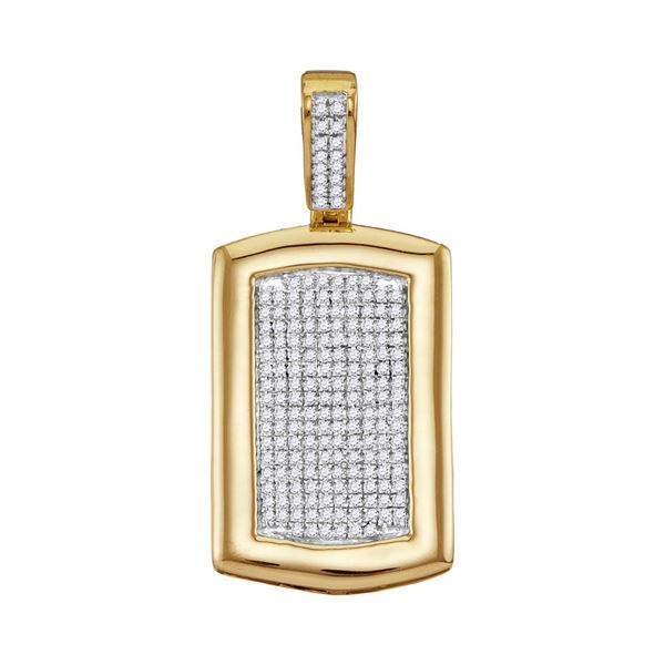 Mens Diamond Dog Tag Cluster Charm Pendant 1/2 Cttw 10kt Yellow Gold