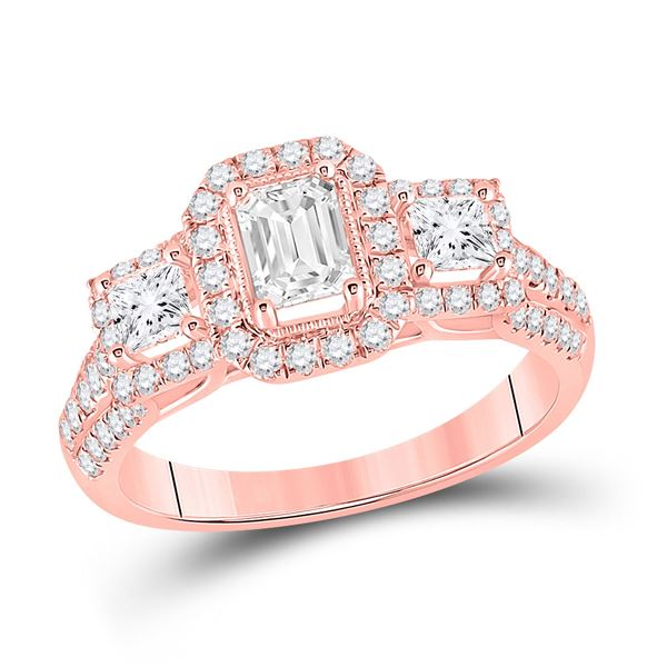 Emerald Diamond 3-stone Bridal Wedding Engagement Ring 1-1/2 Cttw 14kt Rose Gold