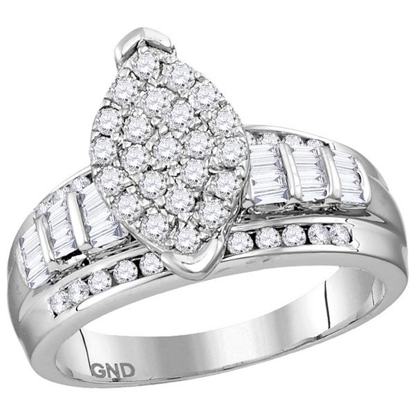 Sterling Silver Diamond Oval Cluster Bridal Wedding Engagement Ring 1 Cttw Sterling Silver