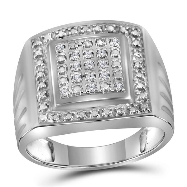 Sterling Silver Mens Diamond Square Frame Cluster Ring 1/10 Cttw Sterling Silver