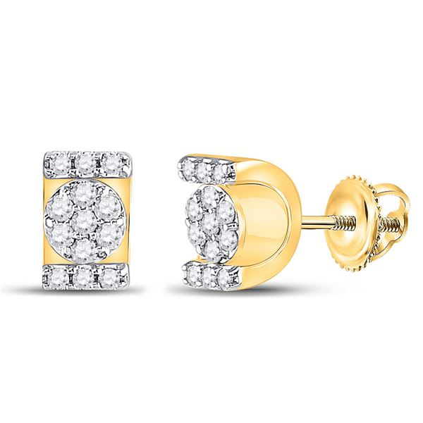 Diamond Rectangle Cluster Stud Earrings 1/4 Cttw 10kt Yellow Gold