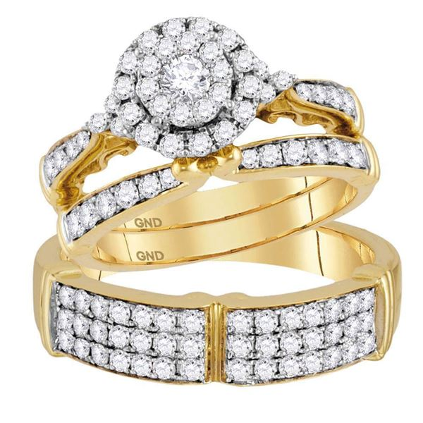 His Hers Diamond Solitaire Matching Wedding Set 1-1/2 Cttw 14kt Yellow Gold