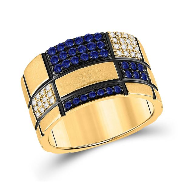 Mens Blue Sapphire Checkered Band Ring 5/8 Cttw 14kt Yellow Gold