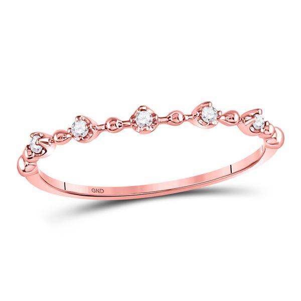 Diamond Bead Dot Stackable Ring 1/20 Cttw 10kt Rose Gold