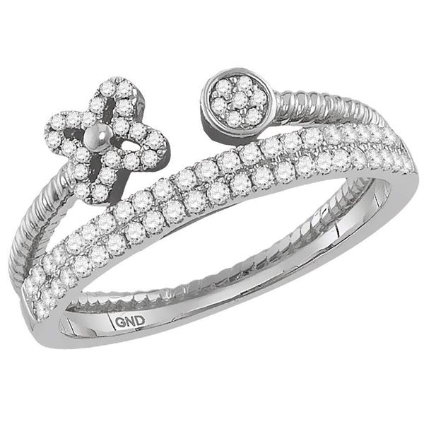 Diamond Flower Bisected Stackable Band Ring 1/5 Cttw 10kt White Gold