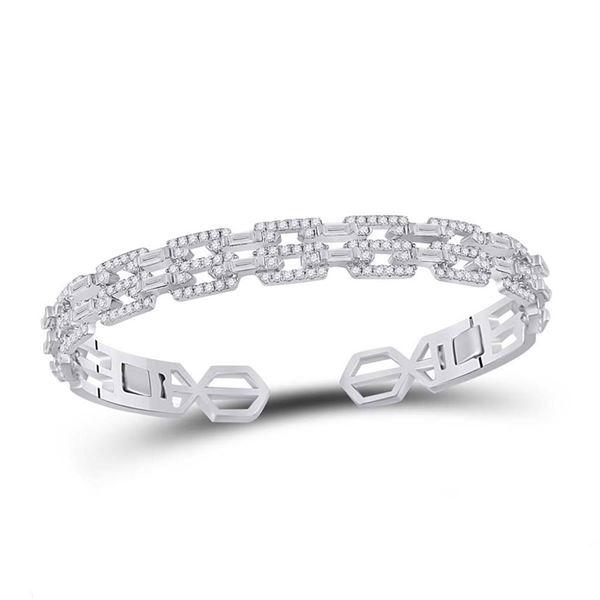 Baguette Diamond Bangle Bracelet 2-1/2 Cttw 14kt White Gold