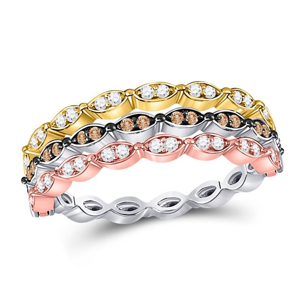 Brown Diamond Convertible Band Ring 3/8 Cttw 10kt Tri-Tone Gold