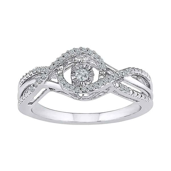 Diamond Moving Twinkle Solitaire Ring 1/6 Cttw 10kt White Gold