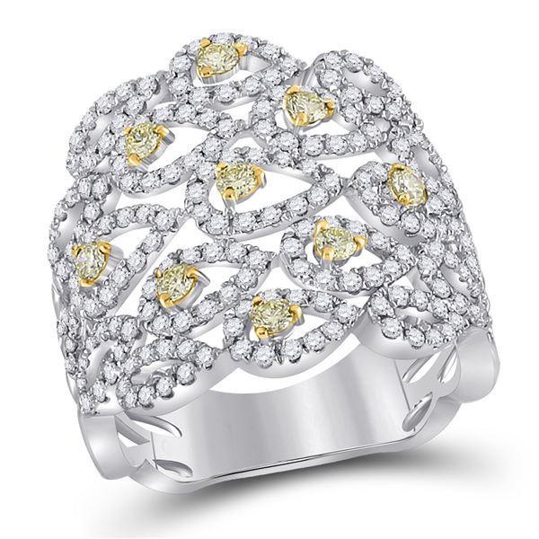Yellow Diamond Teardrop Band Ring 1-1/2 Cttw 14kt White Gold
