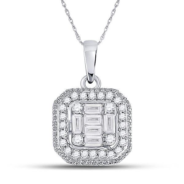 Baguette Diamond Fashion Cluster Pendant 1/4 Cttw 14kt White Gold