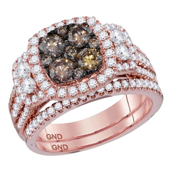 Brown Diamond Bridal Wedding Ring Band Set 2 Cttw 14kt Rose Gold