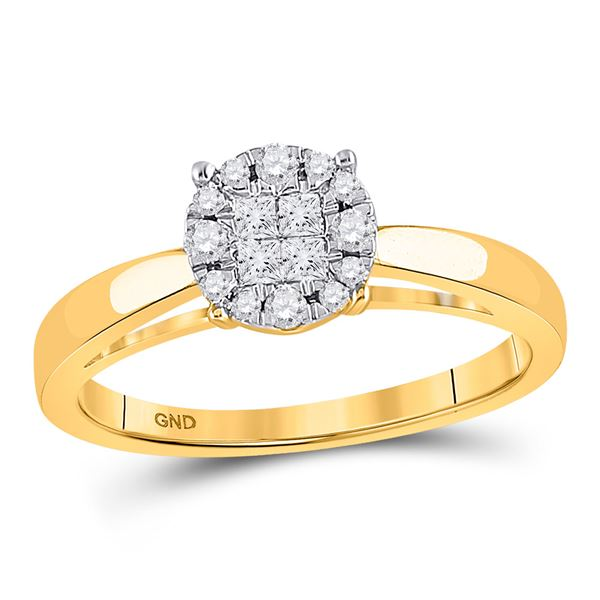 Princess Diamond Bridal Wedding Engagement Ring 1/4 Cttw 14kt Yellow Gold