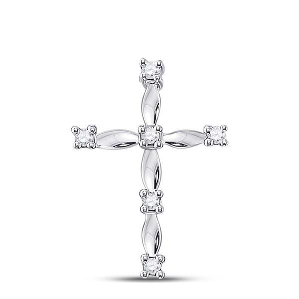 Diamond Cross Pendant 1/20 Cttw 10kt White Gold