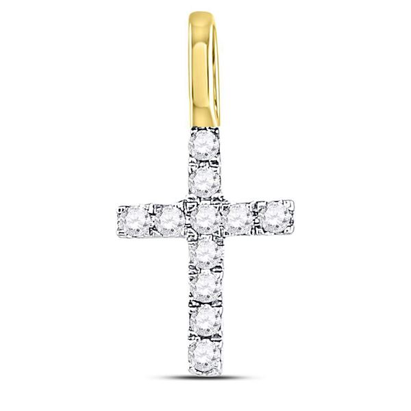Diamond Dainty Cross Pendant 1/10 Cttw 14kt Yellow Gold
