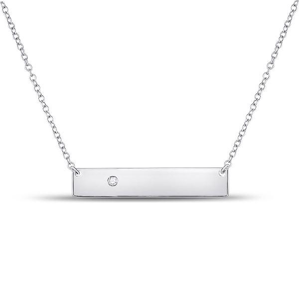 Diamond Rectangle Bar Necklace .02 Cttw 10kt White Gold