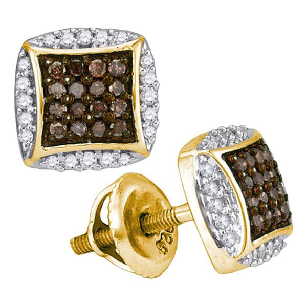 Brown Diamond Square Cluster Earrings 1/3 Cttw 10kt Yellow Gold