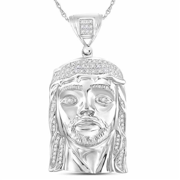 Sterling Silver Mens Diamond Jesus Face Charm Pendant 1/4 Cttw Sterling Silver