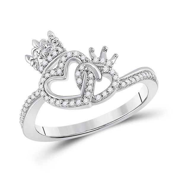 Diamond King Queen Heart Ring 1/6 Cttw 10kt White Gold
