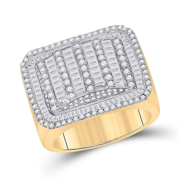 Mens Baguette Diamond Rectangle Fashion Ring 2-1/4 Cttw 10kt Yellow Gold