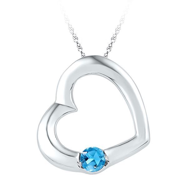 Lab-Created Blue Topaz Heart Pendant 1/6 Cttw Sterling Silver