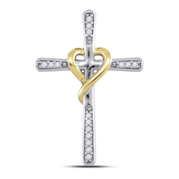 Diamond Cross Pendant 1/20 Cttw 10kt Two-tone Gold